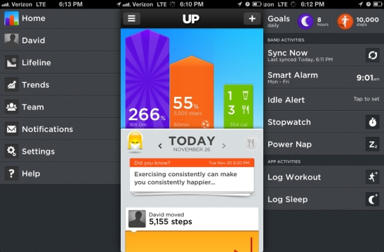 Quantified self objects and app Jawbone